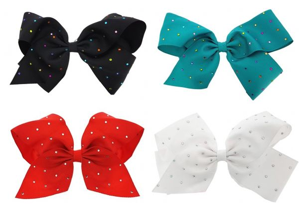 4pcs Big Hair Diamante Bows Boutique Girls Alligator Clip Grosgrain Ribbon Headband - 15cm